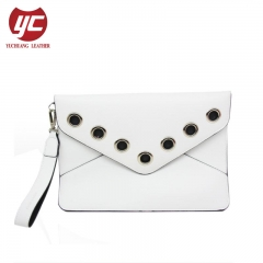 Newest Fashion Eyelets Folded Flap Ladies Clutch Purse Wallet Factory