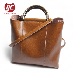 China Manufacturer Genuine Cow Leather Bag Fashion Ladies Tote Bag