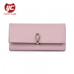 Fashion PU Leather Women Purse Women Folded Wallet with Metal Clip