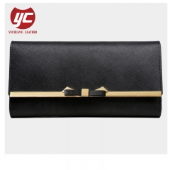 Fashion Saffiano PU Leather Folded Women Wallet with Bow Metal Frame