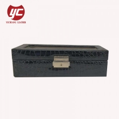 China manufacturer good quality wooden jewelry box PU / real leather cosmetic case cosmetic box