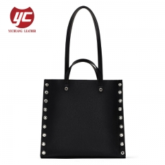 High quality contrast color design shoulder bag fashion lady tote bag hardware eyelet decoration handbag