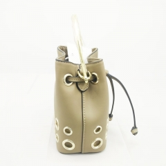 Fashion Cow Leather Drawstring Handbags for Ladies with Grommets