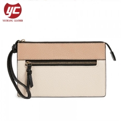 China Manufacture Contrast Color Pebble PU Ladies Clutch Wallet