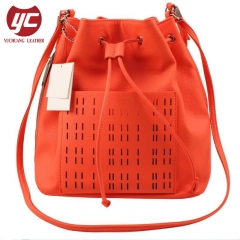 China Wholesale High End Cow Leather Women Bucket Hand Bag