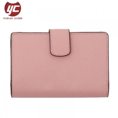 Classical Artificial Saffiano Leather Card Holder Top Rated Lady PU Short Wallets