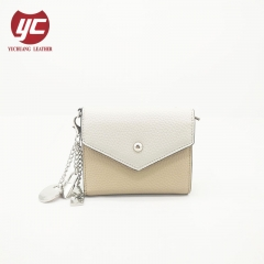 Contrast Color Ladies Clutch Purse Wallets with Pendant Accessoriess