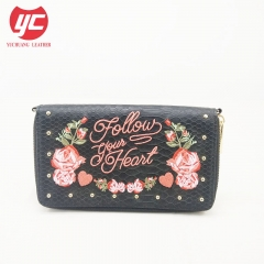 Classic Design Floral Embroidery PU Women Wallets