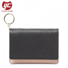 Contrast Color PU Fashion Women's Wallet with Key Ring