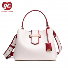 Contrast Color Fashion Ladies Genuine Leather Bucket Bag