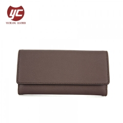 Trendy Fashion Simple Design Long Wallet Handmade Saffiano PU Women Wallets