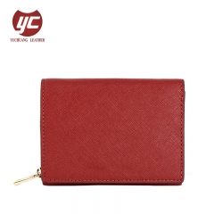 Red Saffiano PU Leather Coin Purse Lady Fashion Short Wallet